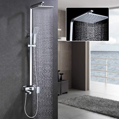 Auralum - Columna de ducha sistema con barra, efecto lluvia, alcachofa rectangular y de tipo teléfono para baño o ducha, 850-1350mm. Altura ajustable
