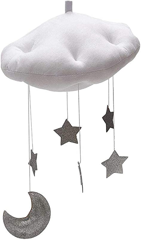RoJuicy Cloud Hanging Decoration Floating Cloud Pendant With Moon Stars Baby Crib Bed Room Play Tent Room Wall Art Decor