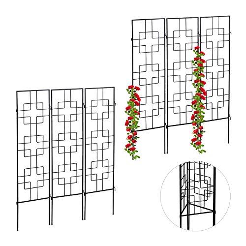 Relaxdays 6 x Rankgitter Metall, zum Stecken, Rankhilfe für Kletterpflanzen, Kletterhilfe 122 x 30,5 cm, Spalier Garten, schwarz