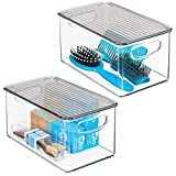 mDesign Plastic Bathroom Stackable Storage Box with Handles, Lid - Holds Soap, Body Wash, Shampoo, Lotion, Conditioner, Hand Towels, Hair Accessories, Body Spray - 10' Long, 2 Pack - Clear/Smoke Gray