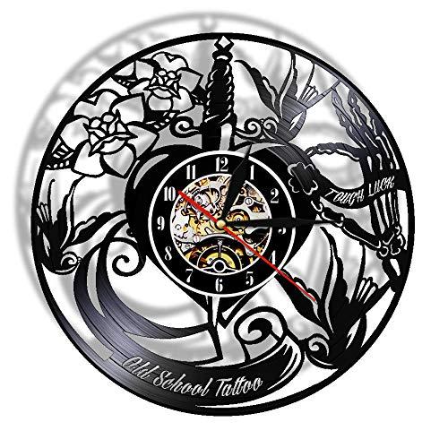 HFWYF Retro Schule Tattoo Studio Vinyl Plattenspieler Wand Art Deco Uhr Uhr Mode Geschenk 12Zoll (30cm)