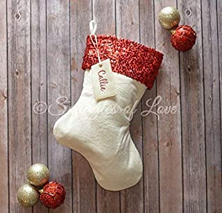 b1817701af1 Monogrammed Velvet Sequin Christmas Stocking – Cream Ivory Velvet and Red  Sparkle Sequin Cuff with Optional