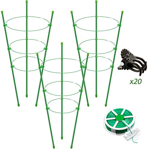 Zhehao 6 Pieces Plant Support Cage Plant Support Rings Garden Support Stake with 3 Adjustable Rings, 20 Plant Clips, 50 m Twist Ties for Climbing Plants, Flowers, Orchids, 17.7 Inches