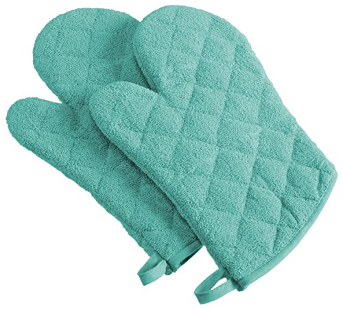 DII 100% Cotton Quilted Terry Oven Mitt Set, Ovenmitt, Aqua 2 Count