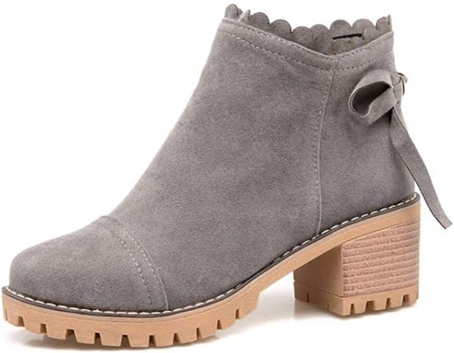 BeautyOriginal Women's lace up Chunky Stacked Heel Ankle Bootie