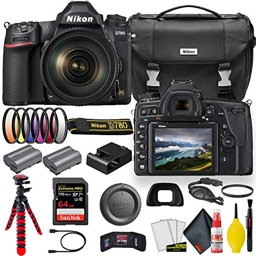 Nikon D780 24.5 MP Full Frame DSLR Camera with 24-120mm Lens (1619) - Bundle - + Sandisk Extreme Pro 64GB Card + Additional ENEL15 Battery + Nikon Case + Cleaning Set + Filter Sets + More (Renewed)
