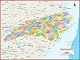 36 x 27 North Carolina State Wall Map Poster with Counties - Classroom Style Map with Durable Lamination - Safe for Use with Wet/Dry Erase Marker - Brass Eyelets for Enhanced Durability
