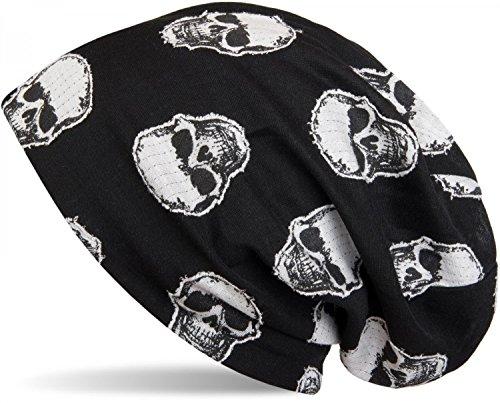 styleBREAKER Unisex Stoff Beanie Mütze mit aufgesetztem Totenkopf Muster, Skull Applikation, Longbeanie 04024047, Farbe:Schwarz