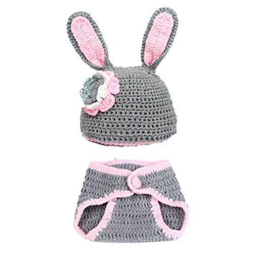 DAYAN 1 jeu Gris Lapin Baby Animals tricoté Photographie vêtements 3-12 mois