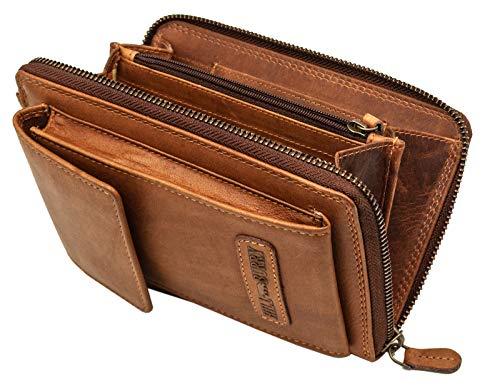 Hill Burry Damen Handy Umhängetasche Leder RFID | Portemonnaie aus weichem hochwertigem Rindsleder - Vintage Leder Geldbörse | Handtasche - Handgelenktasche - Handschlaufe | Schultertasche (Braun)