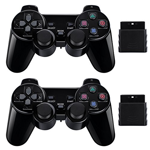 BLUE LAKE Performance 2 Pack Wireless Controller 2.4G Compatible with Sony Playstation 2 PS2 (Jet Black)