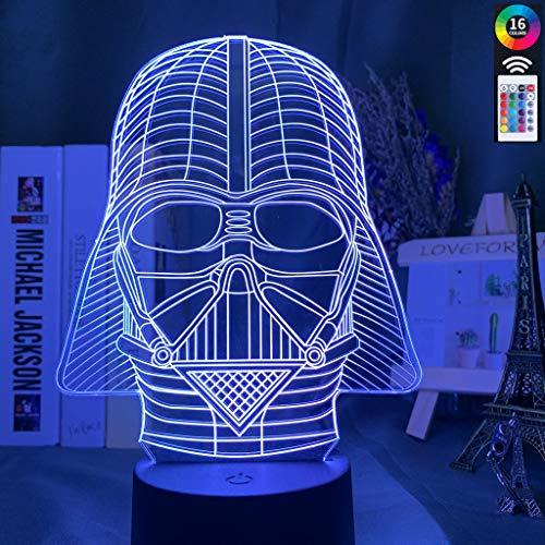Kinderzimmer Licht 3d LED Nachtlicht Star Wars Charakter Darth Vader Helm Nachtlicht...