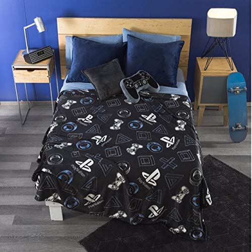DreamPartyWorld Playstation Videogame Blanket Light Throw Boy Black Teens Full/Queen Comforter Bedding