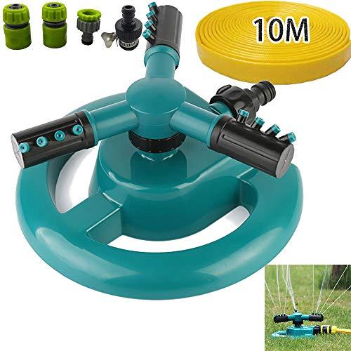 YFAH Aspersor De Césped con Diseño A Prueba De Fugas Ajustable Aspersor De Jardín con Tubería De Agua De 10M para Cultivos Riego