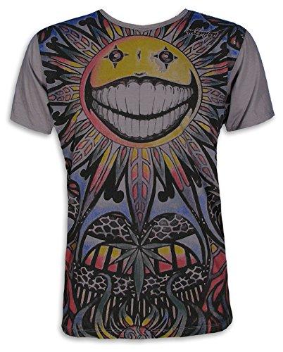 Mirror Herren T-Shirt - Die Psychedelische Sonne Größe M L XL Hanf-Blatt Goa Party Sommer PSY-Trance (Grau M)