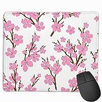 コンピューターのラップトップ30x25 cmの桜ピンクマウスパッド滑り止めゴムゲームマウスパッドマット