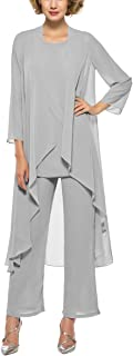 3 Piece Mother Of The Bride Pants Suits Long Sleeve Dressy Pantsuits