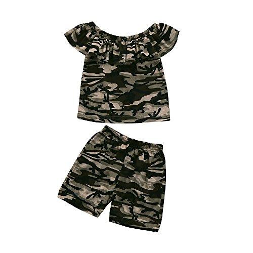 Vovotrade Ensemble T-Shirt 2pièces Tops + Shorts Tenues Ensemble de vêtements à Manches Courtes imprimé Enfants Camouflage bébé garçons Filles Printemps d'été Mode 1PC Vêtements 12mois-4ans