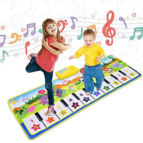 Upgrow Tanzmatte, Kinder Musikmatte, Klaviermatte mit 8 Instrumenten, Klaviertastatur Musik Playmat Spielzeug für Babys, Kinder, Mädchen und Junge (100*36cm Tier)