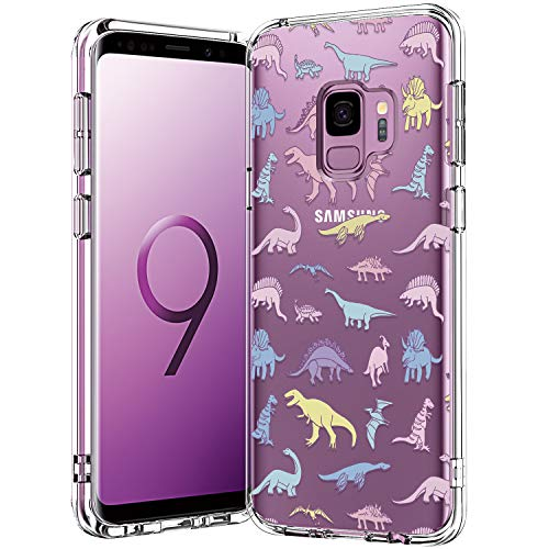 bicol Galaxy S9 Case, Dinosaurs Pattern Clear Design for Girls Women Transparent Plastic Hard Back Cover with Soft TPU Bumper Protective Phone Case for Samsung Galaxy S9