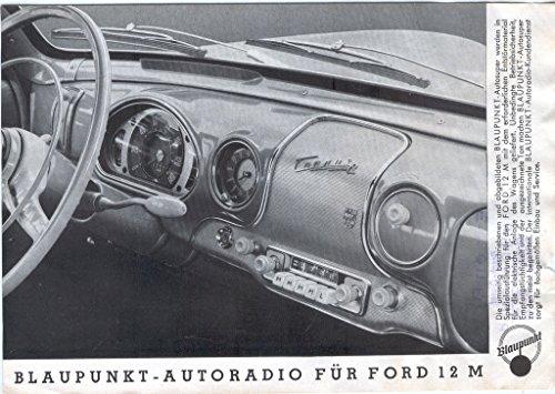 Blaupunkt-Autoradio für Ford 12 M. Informationsblatt.