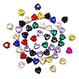 Honbay 50PCS 12mm (Sew on or Glue on) Heart Shape Flatback Claw Rhinestones for Clothes, Bags, Shoes, Hats, DIY Crafts and More(Mixed Color)