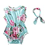 Product Image of the Hollyhorse Baby Girl Romper | Floral Baby Rompers for Baby Girls Headband Pink