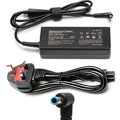 HP 65W Laptop Charger, 19.5V 3.33A Notebook Power Supply AC Adapter with Power Cord Supply Replacement for HP Pavilion x360 11 13 15, EliteBook Folio, Spectre Ultrabook and more(4.5 X 3mm)