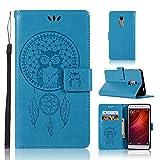 BCIT Xiaomi Redmi Note 4 Funda - [Patrón de búho] Carcasa Libro de Cuero Con Tapa y Cartera, Carcasa PU Leather Con TPU Silicona Case Interna Suave para Xiaomi Redmi Note 4 - Azul