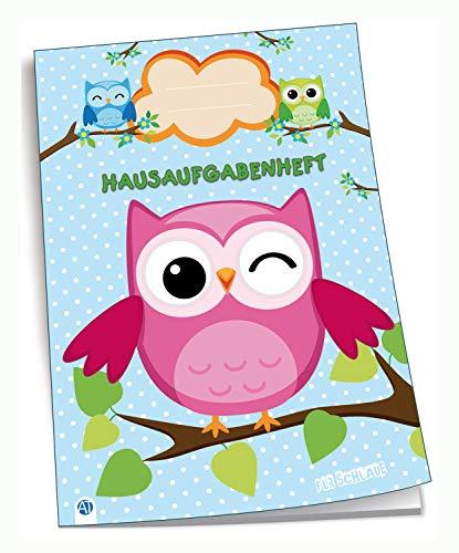 Trötsch Verlag 201524 - Hausaufgabenheft DIN A5, Eulen, 96 Seiten, mit extra starkem Klarsichtumschlag