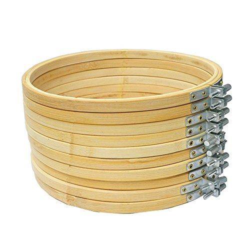 Cleana Arts Aro de Bordado de 10 Paquetes Anillo de Aro de Punto de Cruz de Bambú del Aro 13cm