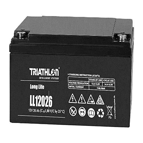 Triathlon Long Life AGM Batterie 12Volt 26AH wartungsfreie verschlossene VLRA Batterie (Valve Regulated Lead Acid)