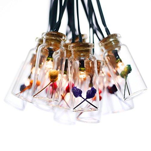 Solarbuy24 solar lichterkette Garten mit 15 Glückliche Blumen Glasflaschen Solarbetrieb Warmweiß wasserdicht für außen draußen, Party, Weihnachten, zur Dekoration