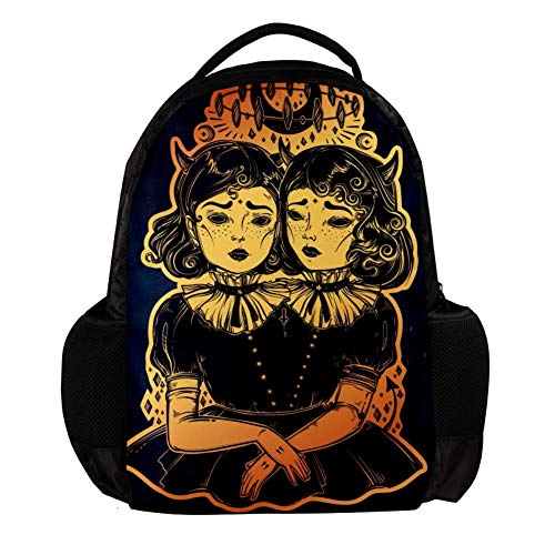 MAPOLO Gothic Witchcraft Siamese Twins School Backpack Rucksack College Bookbag Travel Laptop Daypack Bag for Men Women