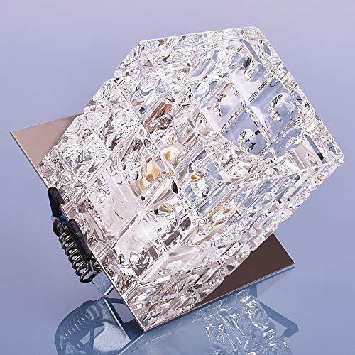 Glas Einbaustrahler mit G9 Fassung 230V Spot Deckenleuchte Deckenspot Einbauleuchte Kristall...