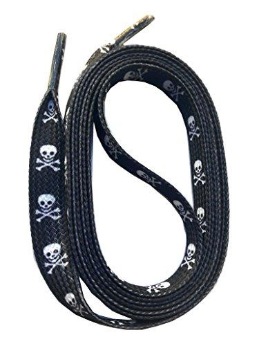 SNORS bedruckte Schnürsenkel TOTENKOPF schwarz 140cm, 10mm, Schuhbänder mit Motiv, reißfest, waschbar, Flachsenkel Made in Germany