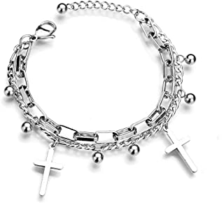 Titanium Stainless Steel Cross Adjustable Bangles Bracelets for Women,Girls