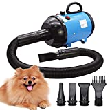 Secador de pelo de perro 2800W/3.8HP, velocidad ajustable sin escalones, soplador de pelo de mascotas, soplador de fuerza de pelo de mascotas con sistema calefactado, manguera de resorte, azul