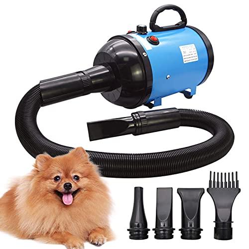 Sèche-cheveux pour chien 2800W/3.8HP, vitesse réglable sans échelles, souffleur de poils d'animaux, souffleur de force de poils d'animaux avec système chauffant, tuyau à ressort, bleu
