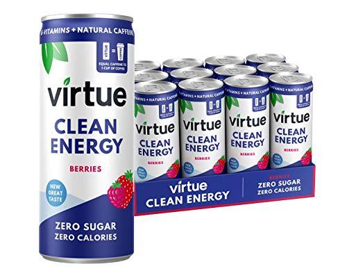Virtue Clean Energy - Natural Energy Drink - Zero Sugar, Zero Calories (Berries, 12 Pack)
