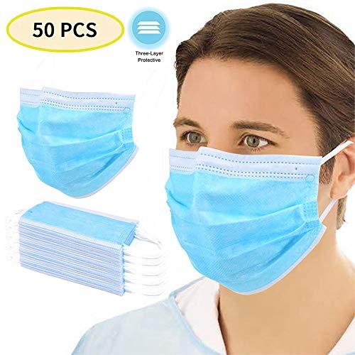 Mengen88 Staubfilter Aktivkohlefilter, Einweg-Gesichts Non-Woven Gewebe Atem staubdichte Nebel Pollen Breathable Gesicht Abdeckung für Erwachsene 50Pcs