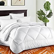 Comforter Duvet insert with Corner Tabs for Duvet Cover 2100 Series, Snow Goose Down Alternative, Hotel Collection Comforter Reversible, Hypoallergenic Choice (Snow White, Queen (88 x 88 inches))