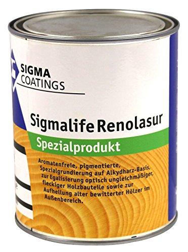 1L Sigma Sigmalife RenoLasur dunkel Spezialgrundierung zum Aufhellen dunkler und Anpassen farblich ungleichmäßiger Hölzer im Aussenbereich