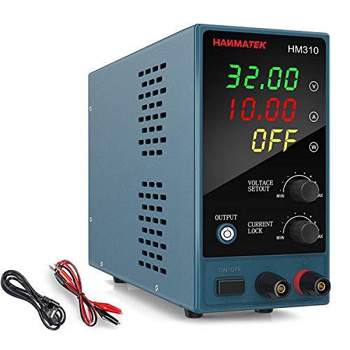 Fuente de alimentación de banco HANMATEK HM305 Fuente de alimentación de laboratorio de conmutación regulada Ajustable desde 30V / 10A Pantalla LED de 4 dígitos