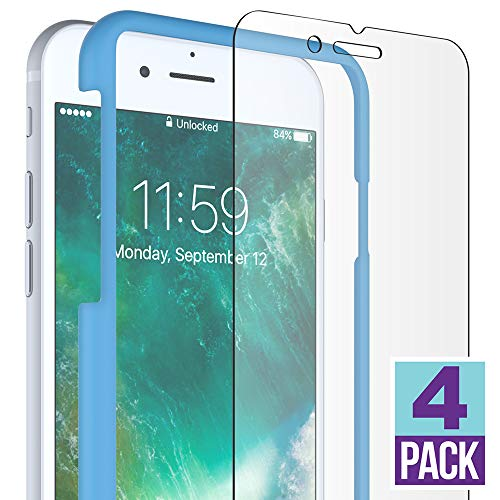 FlexGear iPhone 7 8 Glass Screen Protector [Easy Installation] Premium Clear, Tempered, Compatible with iPhone 7/8 (4-Pack)