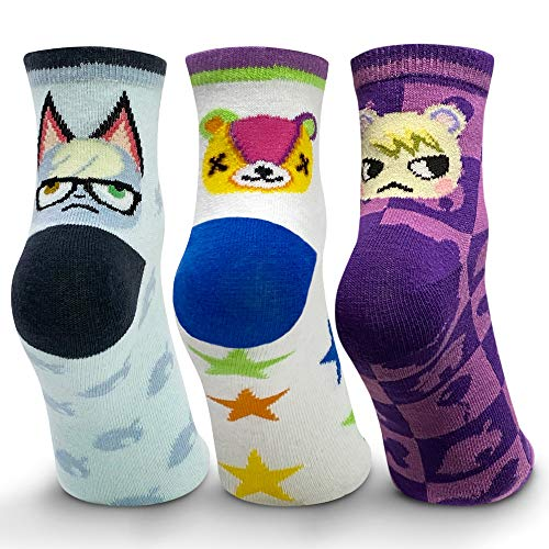 Controller Gear Animal Crossing: New Horizons Raymond, Marshall, Stitches Crew Socks - 3 Pack - Official Nintendo Merchandise - Not Machine Specific