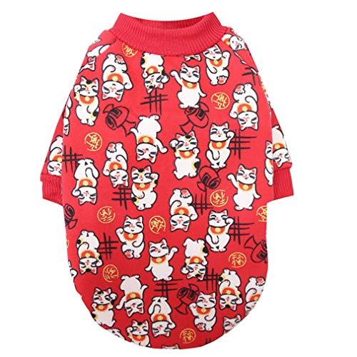 Husdjur Nyårsklänning Tröja Par Modell Hund Kattkläder Vintertröja röd L