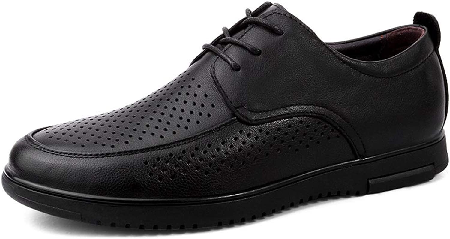 Mens shoes Comfortable Men's Business Lined Oxford Perforated Loafer Casual Boat shoes Lace Up Style Genuine Leather Flat Heel Round Toe