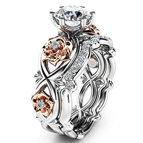 Womteam Women Titanium Eternity Engagement Ring, New Ladies Silver & Rose Gold Filed White Wedding Engagement Floral Ring Set(银色,Silver,10)