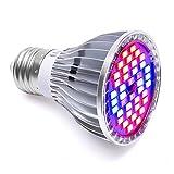LONGKO 30W 40LED Ampoule Lampe de Croissance Eclairage E27 pour Plant Avec 7 Longueur d'Onde AC 85-265V pour des Plantes,des Fleurs et des Légumes Intérieur/de Serre/de Jardin